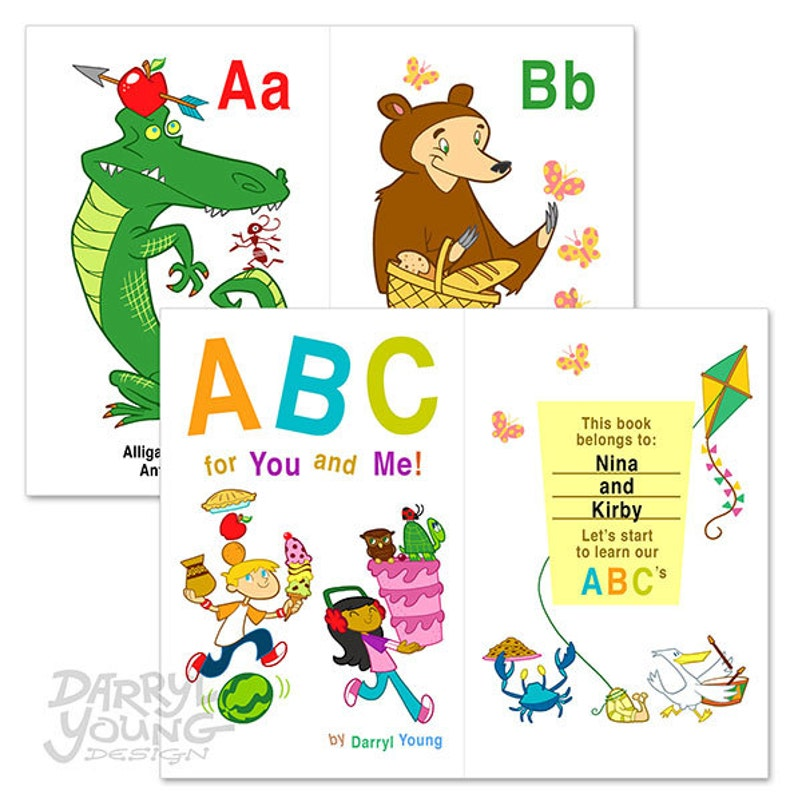 photograph about Printable Baby Flash Cards called Customized Alphabet Flash Playing cards E-book, Electronic Printable - ABC for Oneself and Me - 5.5\