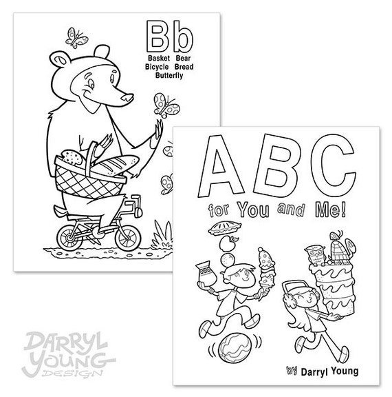 Large Alphabet Coloring Book, Digital Printable - ABC for You and Me - 8\