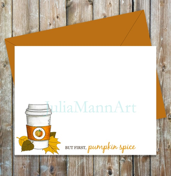 photo regarding Printable Notecard called Pumpkin Spice Printable Notecard Prompt Down load, Drop notecard, \