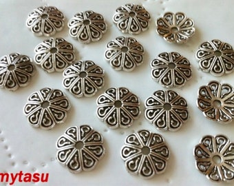 Lead free and Cadmium free Nickel 60 pcs 10 mm Antique Silver color Bead Caps,Zinc Alloy bead cap,10 mm bead cap antique silver findings