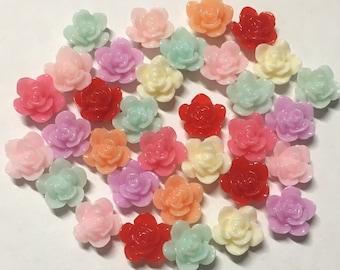 Tiny rose cabochons 10pcs PD 003 10mm Red