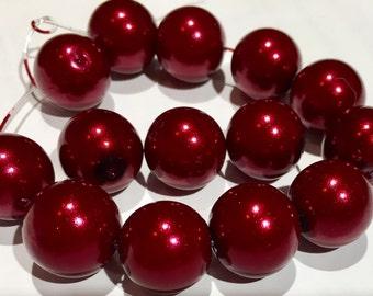36 pcs 14 mm Glass Pearl Beads,Dark Red round beads,Dark Red Pearl bead,Dark red pearl bead,dark red glass bead,mixed glass bead