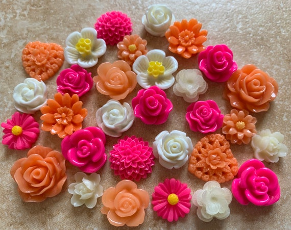 Resin flower Silver Bobby Pin.. perfect for Bobby Pin Kit.earring post..resin flower Bobby Pin Blanks 30 pcs Mixed Cabochon Flowers