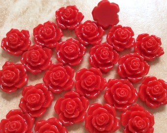 12 pcs 16 mm Cabochon Flowers,Red,Red Rose,16 mm red rose resin flower,Red rose cabochon,crimson rose flower,assorted flower,flower kit
