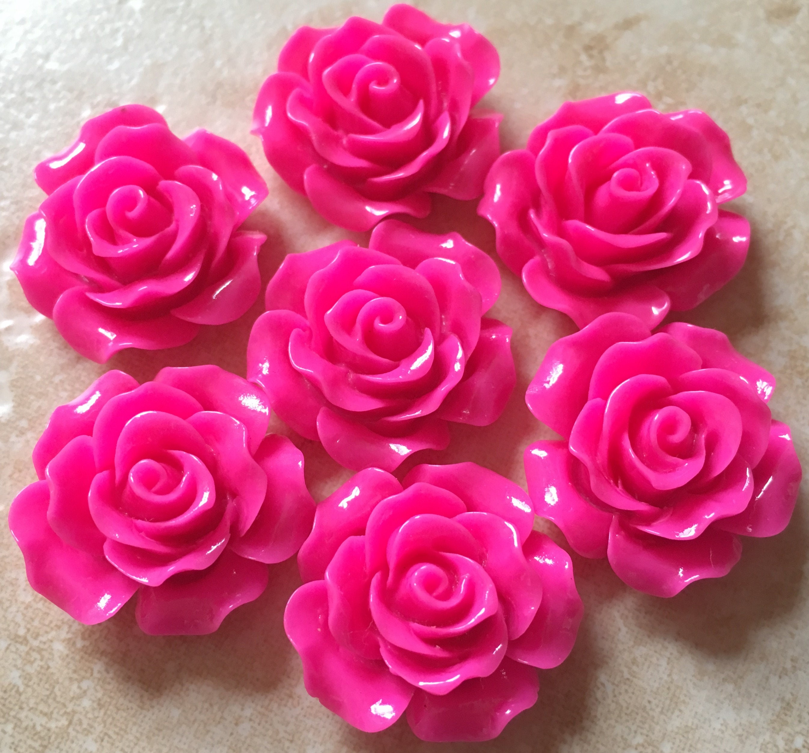 8 Pcs 20 Mm Cabochon Flowers 20 Mm Rose Hot Pink Rose Etsy