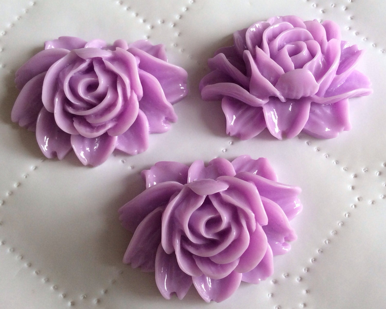 3 Pcs 34 Mm Cabochon Flowers Light Purple 34 Mm Resin Etsy