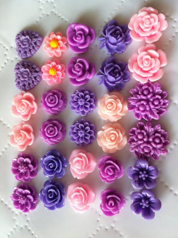 Ship From USA 30 Pcs Mixed Cabochon Flowers Perfect For