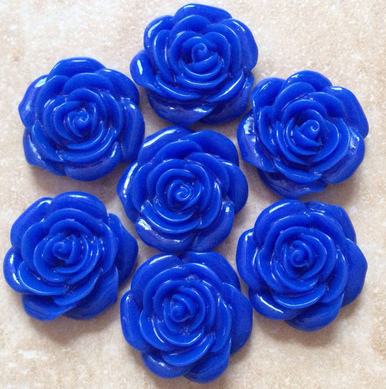 6 Pcs 22 Mm Cabochon Flowersyal Blueblue Rose Floweryal Etsy