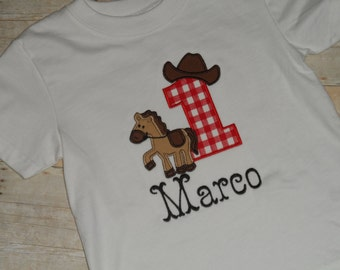 Rodeo Cowboy Horse Birthday Shirt Infant Baby Toddler Boys Custom Applique 12 18 24 2T 3T 4T 5T