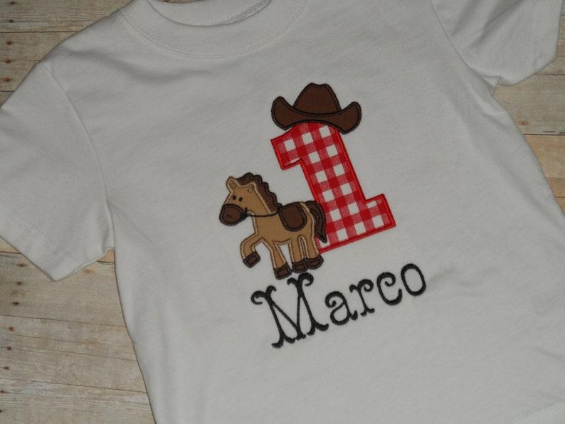 106da9bb4 Cowboy Rodeo Horse Birthday Shirt Infant Baby Toddler Boys   Etsy