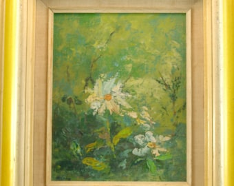 """Painting of Flowers Framed Canvas On Board Signed """"Helene"""""""