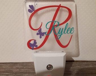 Childrens Personalized Butterfly Plug In Night Light, custom Girls nite light, nursery lite, baby girl night light, nursery light
