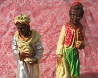 Two Wise Kings, Vintage Nativity Creche Plaster Figures
