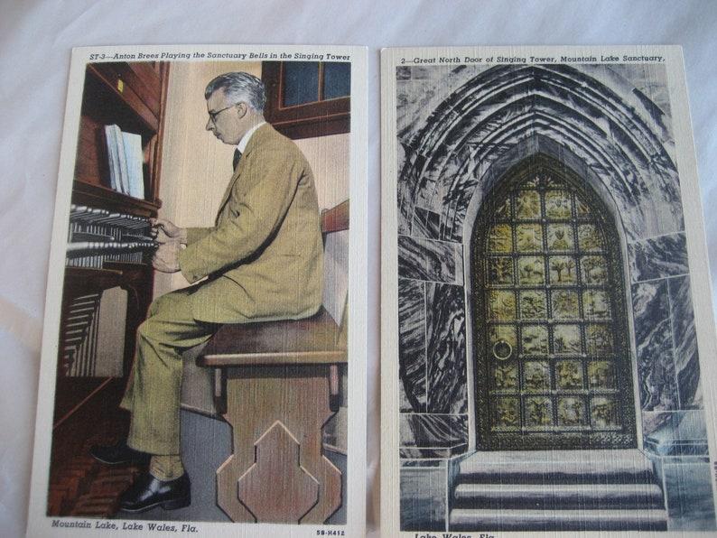 Lake Wales Anton Brees 2 vintage Florida Postcards Carillon and Anton Brees Mountain Lake sanctuary Florida Singing Tower Curteich