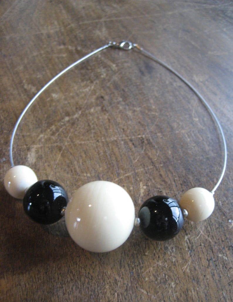 Made in Italy Black and Cream Glass Beaded Necklace Choker SALE