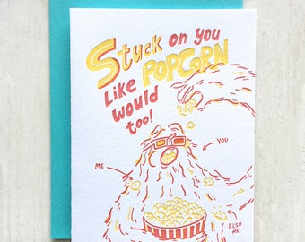 Stuck Like Popcorn Letterpress Card