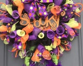 Witch Wreath Halloween Wreath Witch Hat and leg wreath Character Wreath Spooky Wreath Fall wreath spider web legs orange spooky