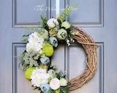 Hydrangea Succulent wreath- Spring wreath- front door wreath