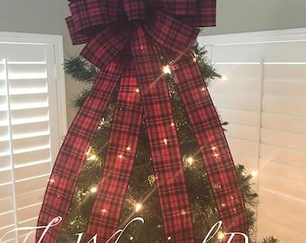 buffalo plaid tree bow christmas tree topper bow whimsical bow tree topper santa tree bow merry christmas tree bow farmhouse tree bow - Christmas Tree Bows