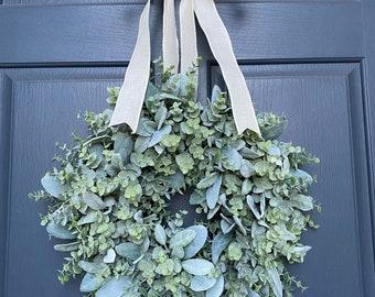Lambs ear with eucalyptus wreath Eucalyptus and Lambs Ear Wreath, Greenery Wreath, Farmhouse Wreath