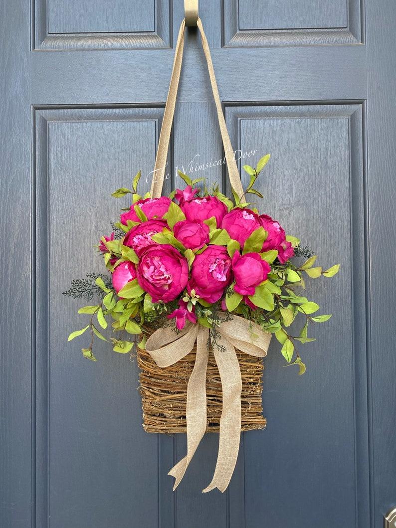 Peony basket wreath  spring wreath  front door wreath