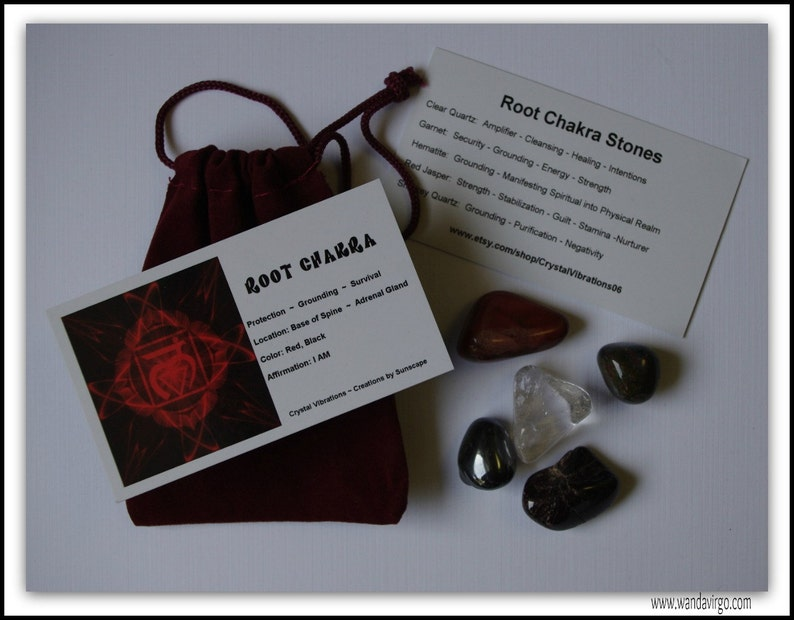 ROOT CHAKRA CRYSTALS Medicine Mojo Bag  Stones for Strength image 0