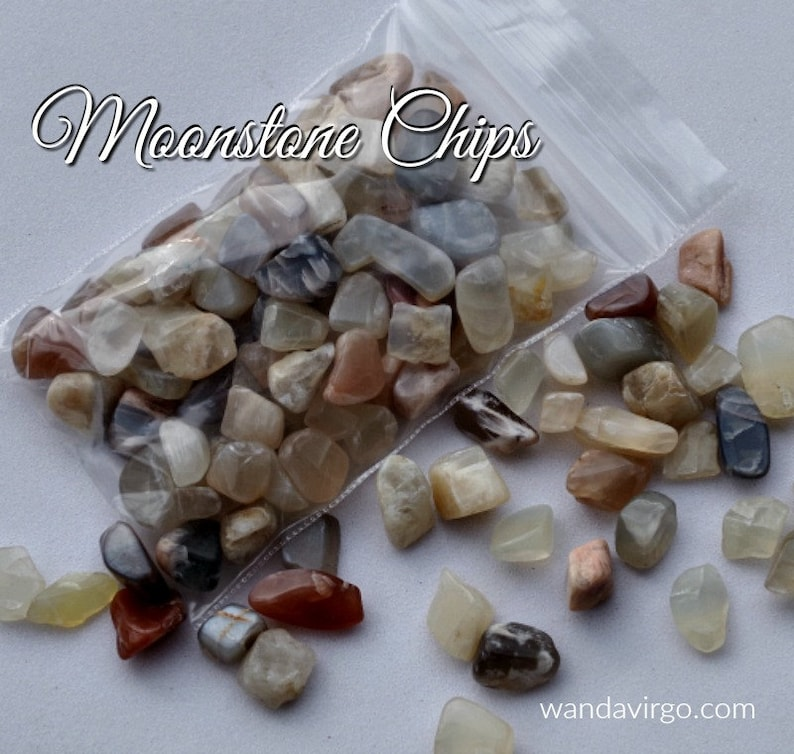 Mixed MOONSTONE CHIPS for spreading the Goddess Energy and image 0