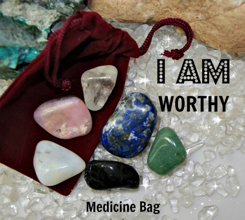 Worthy Crystal Medicine Bag I AM Worthy / Loved / Healing from image 0