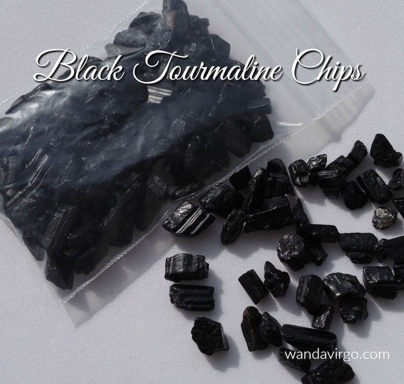 One Ounce BLACK TOURMALINE Stone Chips for Clearing image 0