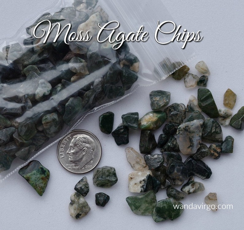 One Ounce Bag of MOSS AGATE Chips for Your Nature Spirit image 0