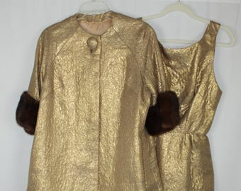 Exquisite Vintage 60s Quilted Gold Lame Dress and Jacket Fur Sleeves Suit Set