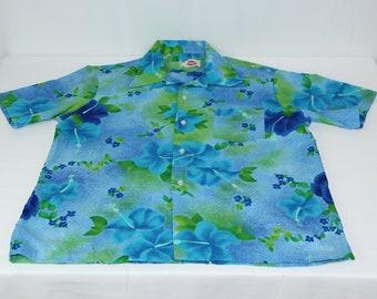 2f1ef4083e7b Vintage Pomare Hawaii L Large ? Blue Green Floral 70s Hawaiian Shirt