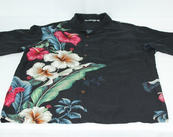0fbc7767ff1d5 Vintage Iolani Floral Black M Medium Lily Hawaiian Rayon Shirt
