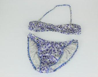 1ad62486c2c67 Vintage Speedo Brand White Purple Floral M Medium 2 Piece Bikini Swimsuit