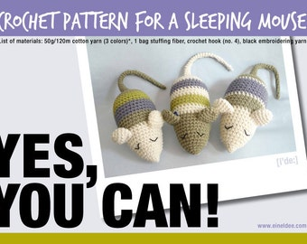 """Crochet Pattern for a """"Sleeping Mouse"""""""