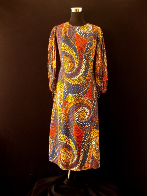 Vintage 1970s BIBA Style Chiffon Midi Dress with A