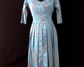 Vintage 1950s Suzy Perette Pale Blue Chinese Silk  Box Pleated Dress. Size UK 12 EU 38