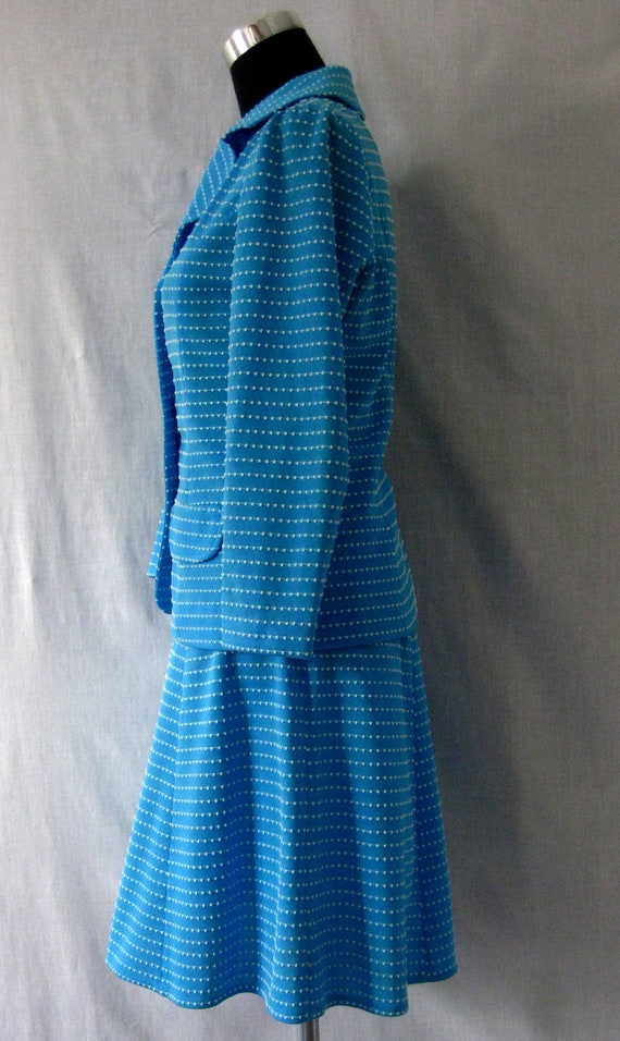 Skirt weave Polyester Motown Stitch White Vintage Sky Jacket Blue and Suit amp; 1970s zwnHU