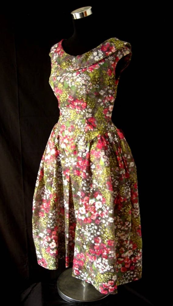 1980s Floral Puff Ball Dress - image 5