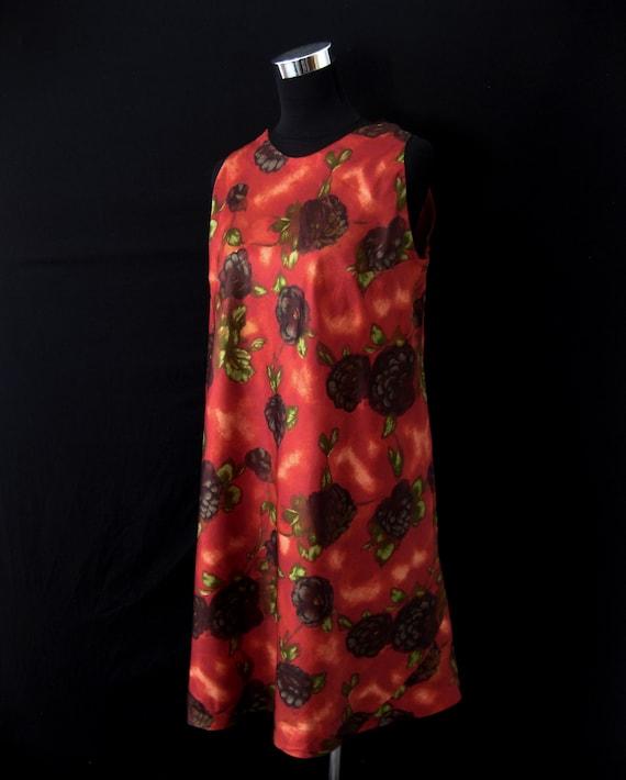 Vintage 1960s Red/Orange Floral Tent Dress & Matc… - image 2
