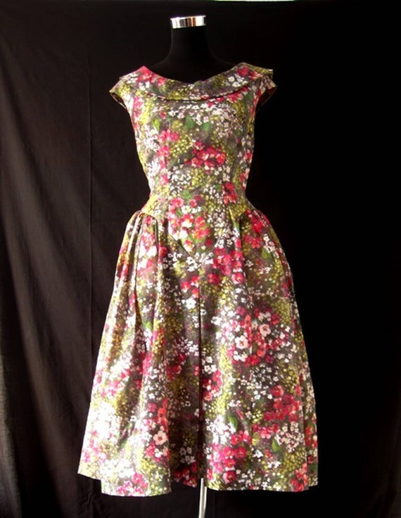 1980s Floral Puff Ball Dress
