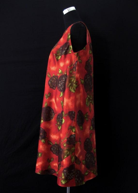 Vintage 1960s Red/Orange Floral Tent Dress & Matc… - image 3