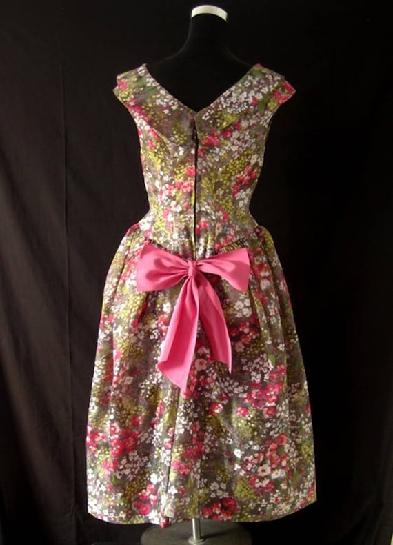 1980s Floral Puff Ball Dress - image 2