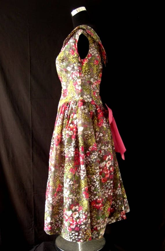 1980s Floral Puff Ball Dress - image 4