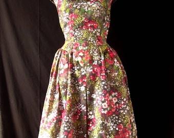 1980s Floral Puff Ball Dress