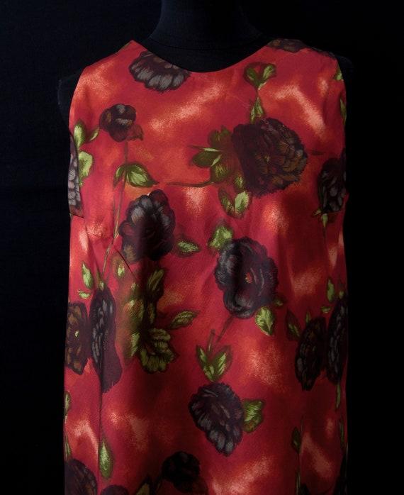 Vintage 1960s Red/Orange Floral Tent Dress & Matc… - image 5