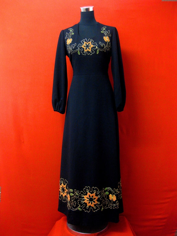 Vintage 1970s Black Embroidered Maxi Dress