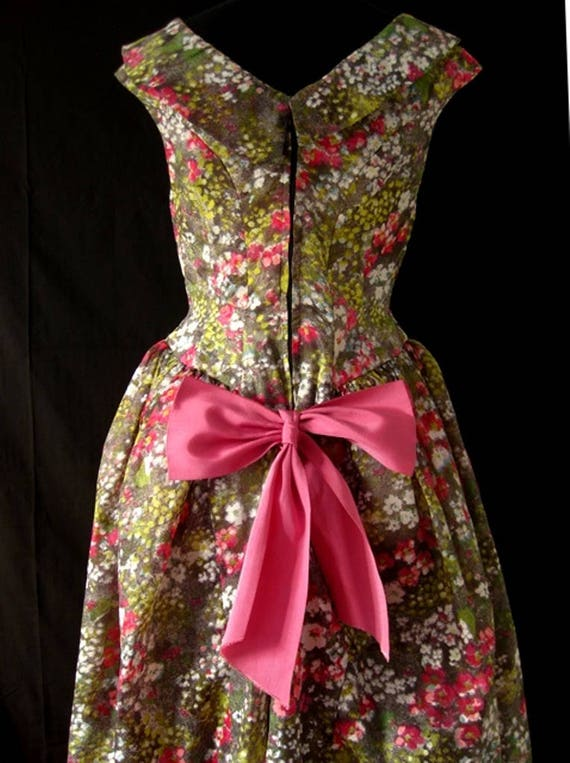 1980s Floral Puff Ball Dress - image 3
