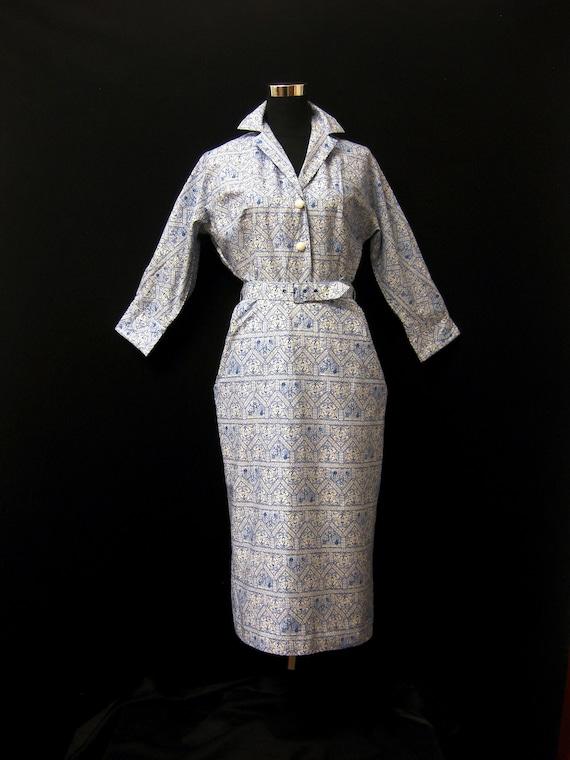 Vintage 1950s Linzi Line Blue Patterned Cotton Pen