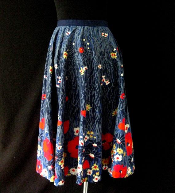Vintage 1950s Rockabilly Floral Skirt Size M